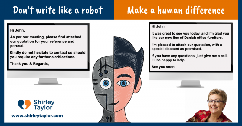 Don't write like a robot. Make a human difference.